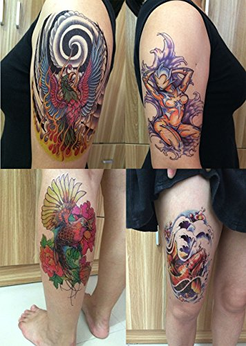 DaLin 4 Sheets Temporary Tattoos, Phoenix, Koi Fish (Tattoo Phoenix)