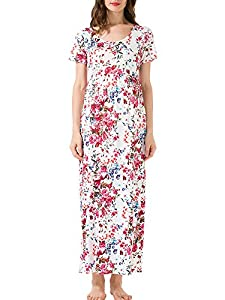 Jinson Women's Ruched Maternity Soild Short Sleeve Long Maxi Dress Vestido with Empire Waist for Pregnancy
