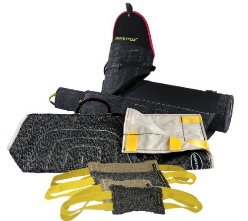 Dean & Tyler 6-Piece Professional Training Bundle Set for Dogs with 1 Tri-Bite Sleeve/1 French Linen Cover/2 Small Tugs/2 Medium Tugs