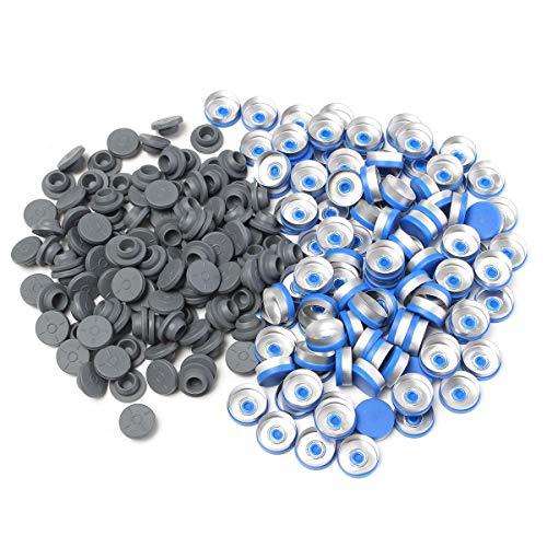 OKIl 100pcs 20MM botella cierre de tapones tapón de goma azul de aluminio caja de plástico