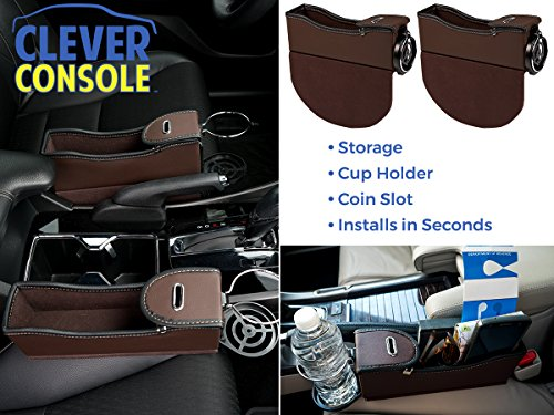 Clever Console, Ultimate Car Seat Gap Filler. Front Seat Caddy Side Organizer, Leather Interior Accessory Personal Items Pocket, Coin & Cup Holder (Set of 2) – Brown