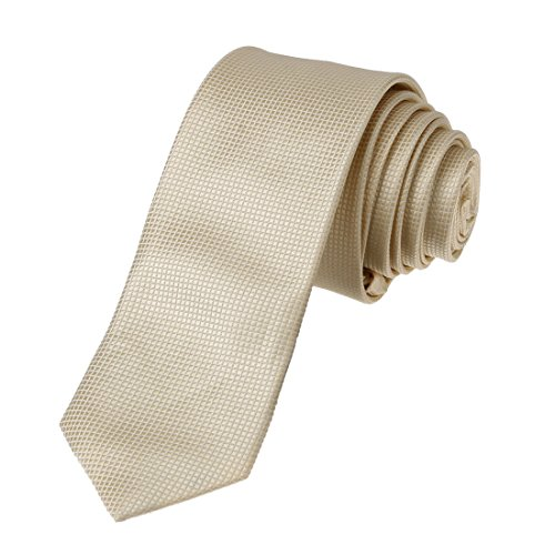 DAE2008 Papaya whip Young Skinny Necktie Matching Present Box Set Checkered Poly SlimTie ST By Dan Smith