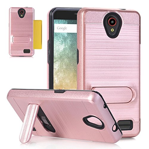 Fashion For ZTE Avid Trio Z831, Perfect Fitting, Easy To Use, Unpara Card Pocket Holder Holster Case Stand Cover (Rose Gold)