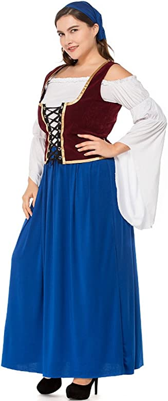 BOZEVON Vestido de Dirndl para Mujeres gordas, Falda de Dirndl ...