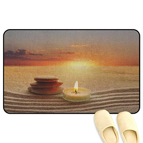 (homecoco Boho Interior Doormat Stack of Stones and Candle Chakra Meditation Zen Yoga Horizon Backdrop Picture Orange Sand Brown Indoor/Outdoor/Front Door/Bathroom Mats Rubber Non Slip W16 x L24)