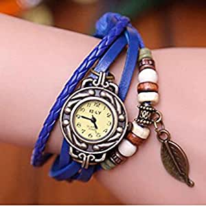 Liroyal Leaf Charm Women Ladies Weave Leather Belt Bracelet Watch Blue