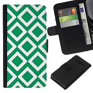 Stuss Case / Funda Carcasa PU de Cuero - Cuadros vintage papel pintado verde - Samsung Galaxy A3