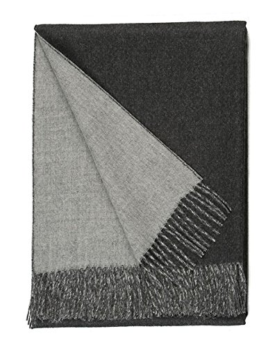 100% Baby Alpaca Wool Sofa Throw Blanket - Two Sided, Hypoallergenic & Dye Free - Perfect for Snuggling (Grey/Charcoal) ()