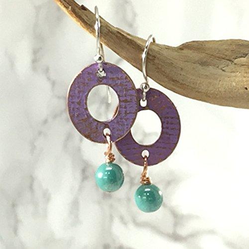 (Pastel Purple and Sea Green Beaded Copper Embossed Earrings )