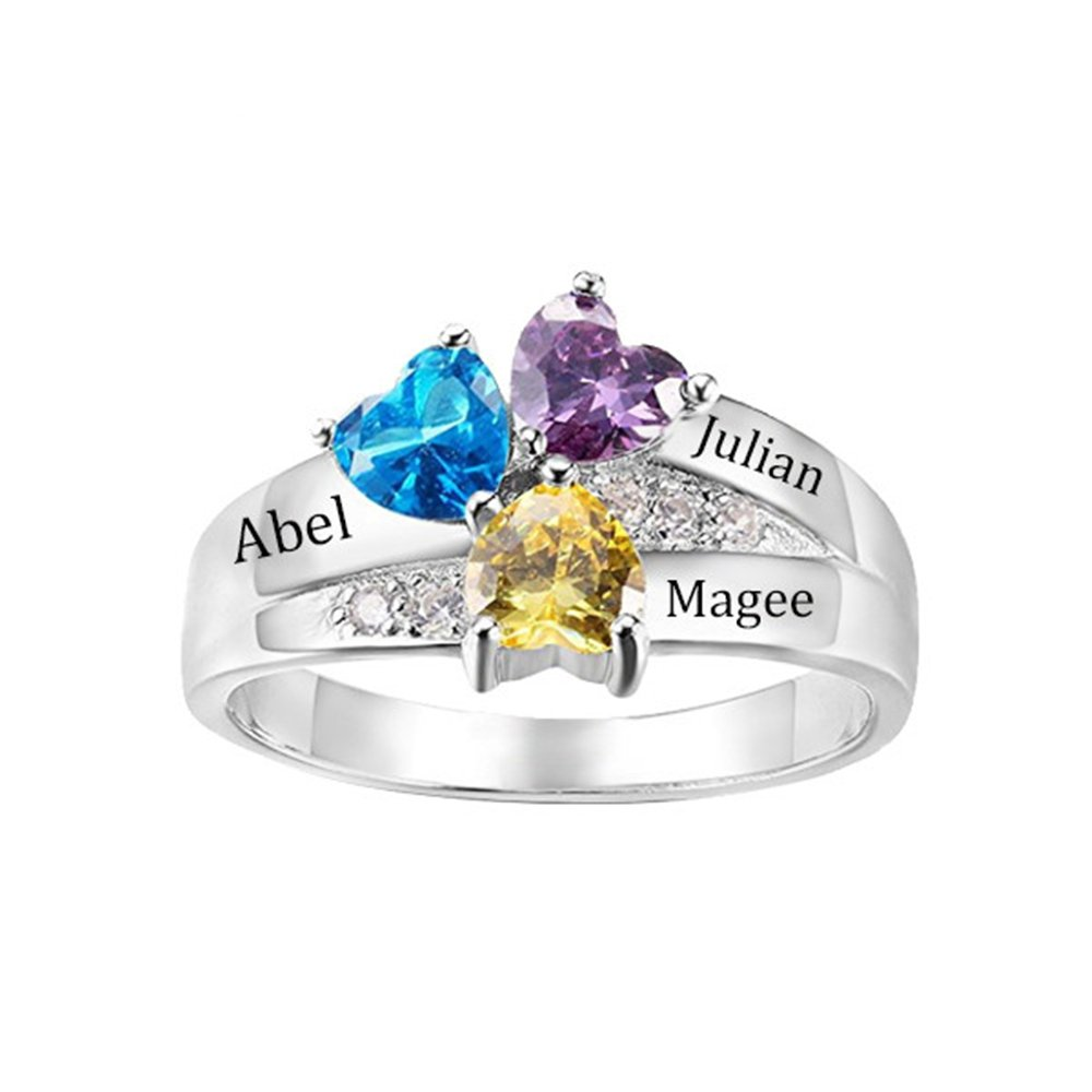 Shiny Alice Personalized Engagement Women Rings Name Engraved with 3 Simulated Birthstones Promise Rings for Her(Silver 4.5)