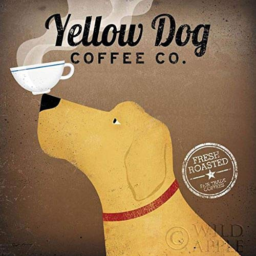 Art Rare Lithograph (Yellow Dog Coffee Co by Ryan Fowler 12x12 Coffee Sign Dog Lab Animals Art Print Poster)