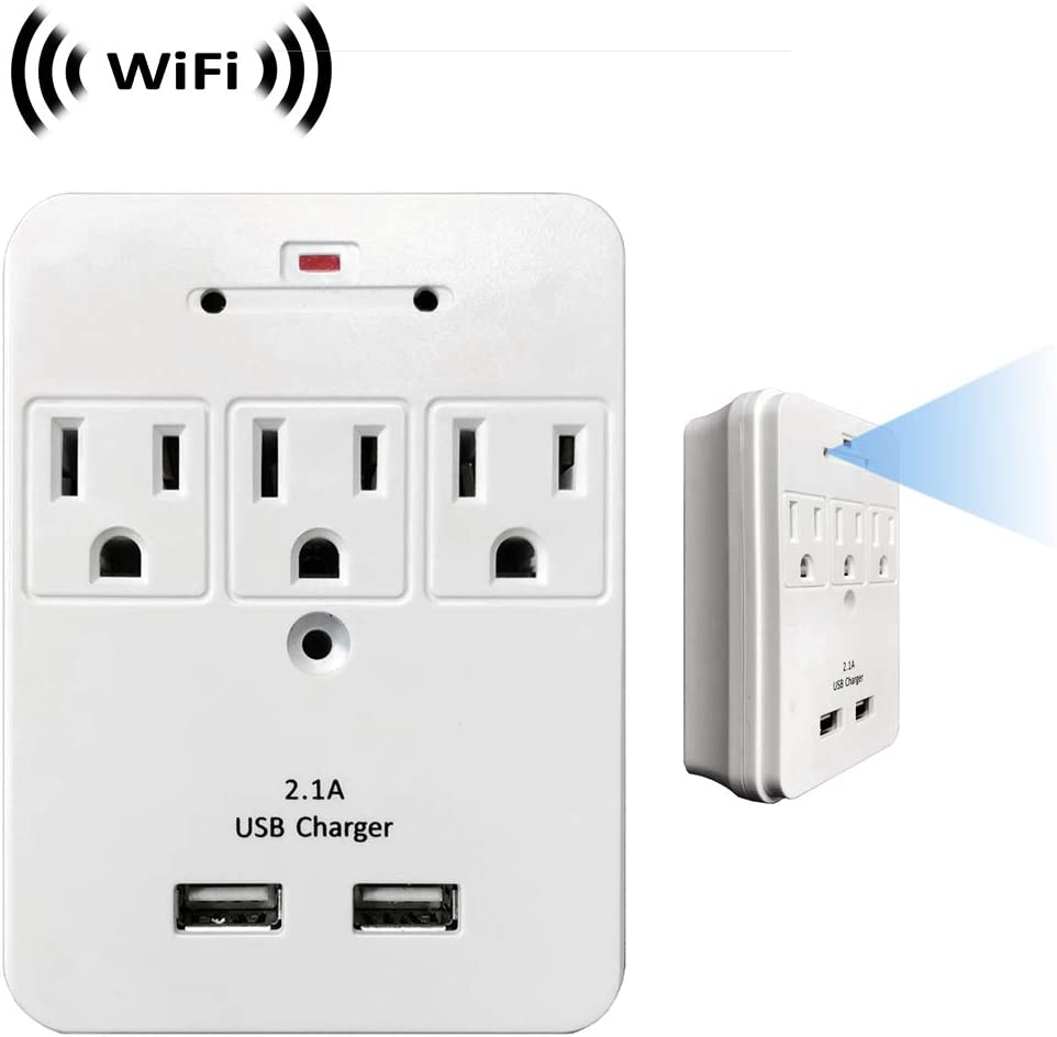 WF-113 Sony 1080p Chip Super Low Light Wireless Spy Camera with WiFi Digital IP Signal, Recording & Remote Internet Access (Camera Hidden in 3 AC Outlet with Dual USB Charging Port Wall Charger)