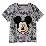 Mickey Mouse Toddler Little Boys All Over Print Graphic T-Shirt (4T, Grey)