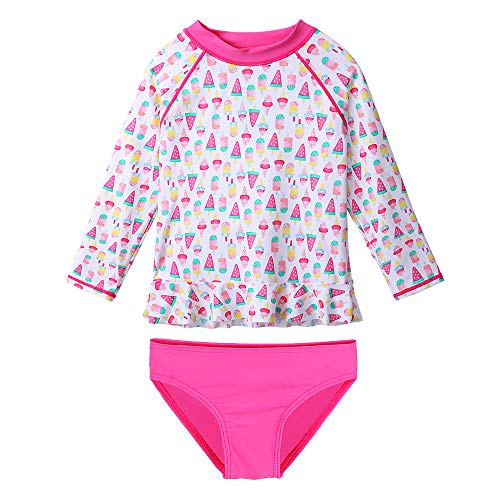 TFJH E Girls Long Sleeve Swimwear 2-Pieces Bikini Swimsuit Sets UV 50+ Hot Pink, White Ice Cream 104/110