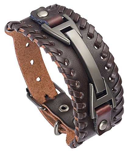 - Hamoery Men Leather Bracelet Punk Braided Rope Alloy Bracelet Bangle Wristband(Brown)