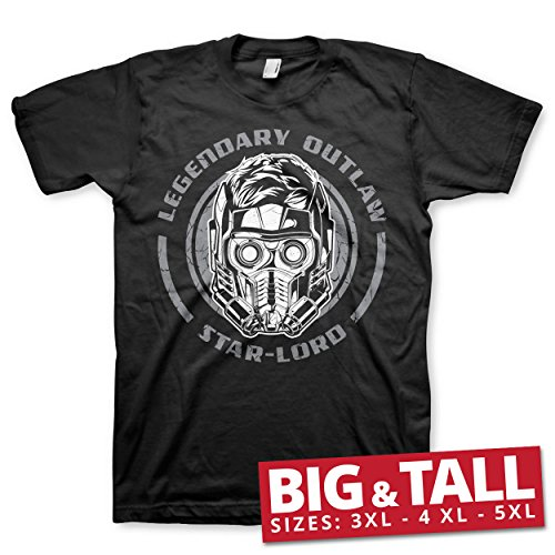 Officially Licensed Star-Lord - Legendary Outlaw 3XL,4XL,5XL Mens T-Shirt (Black), 5X-Large