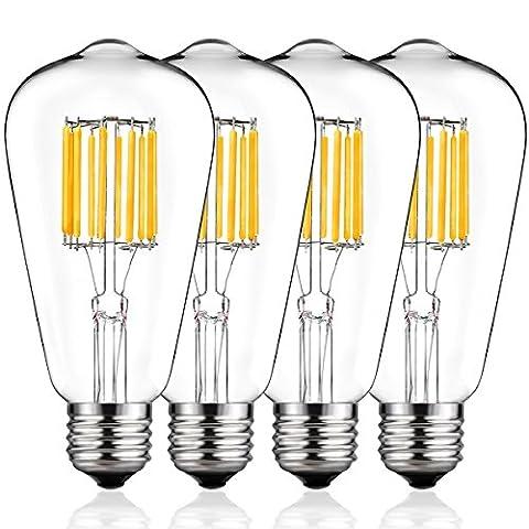 DORESshop LED Filament Bulb, 100Watt Equivalent (10W) Light Bulbs, 2700K Warm White, 1000LM, ST64 Antique Shape, E26 Medium Base Light Bulbs for Home Decoration, 4Pack (Not (100watt Edison Light Bulbs)