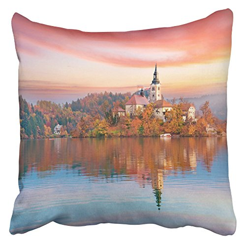 Emvency Decorative Throw Pillow Covers Cases Magical Autumn Landscape The Island on Lake Bled Blejsko Jezero Julian Alps Slovenia Europe 16x16 inches Pillowcases Case Cover Cushion Two Sided