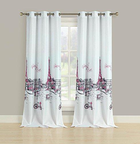 (HowPlumb 2 Window Curtains Grommet Panel Pair Drapes Pink Grey Paris Eiffel Tower 84