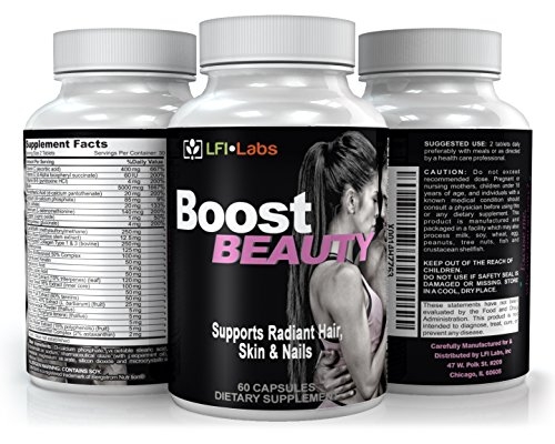 LFI Boost Beauty - Dermatologist Recommended - 28 Powerful & Effective Clinically Studied Ingredients For Beauty Enhancement; Hair, Skin & Nails (Testerone Cream compare prices)
