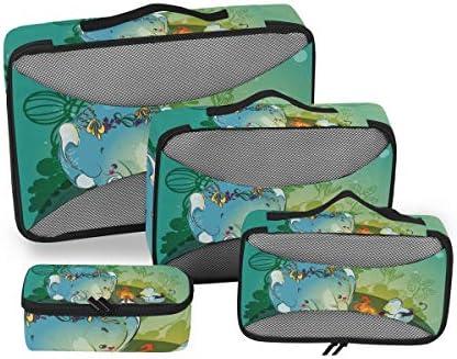 象の家族の絵荷物パッキングキューブオーガナイザートイレタリーランドリーストレージバッグポーチパックキューブ4さまざまなサイズセットトラベルキッズレディース