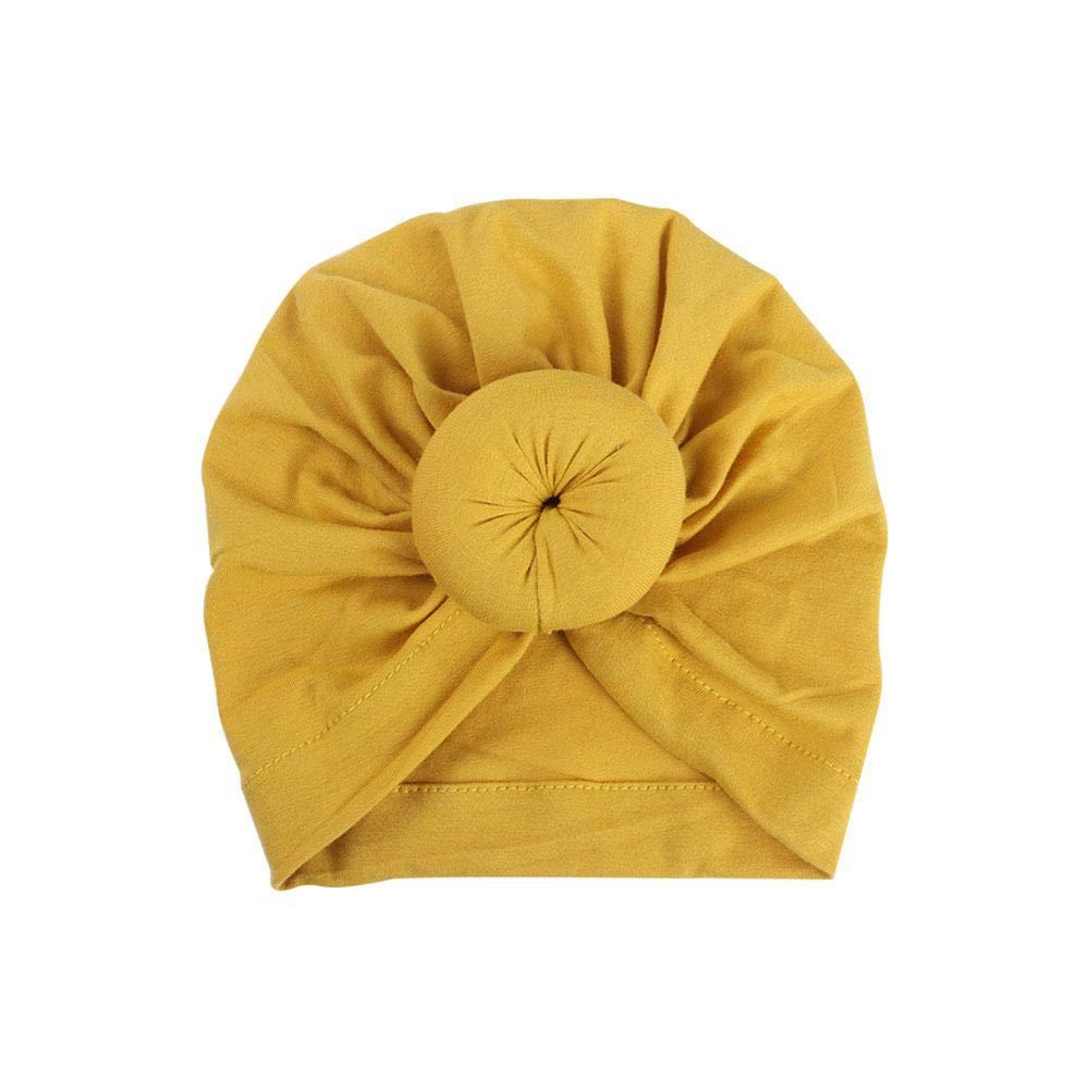 Turbante Recién Nacido de Algodón Suave, Baby Hat Infantil Niño Nudos Diadema, Elástico Pañuelo Hindú para Bebe, Tradicional Gorro India para Ninos de 1-2 Anos/Amarillo Leegoal