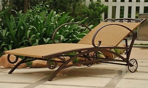 International Caravan Valencia Outdoor Wicker Multi Position Chaise Lounge