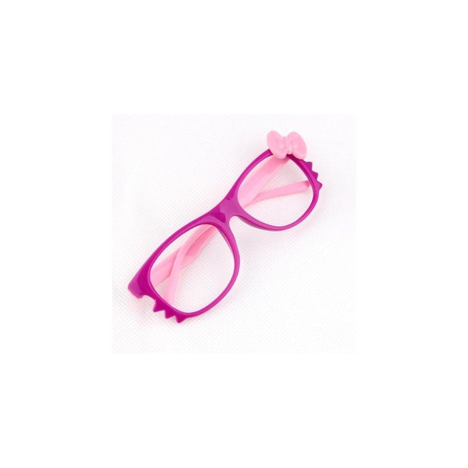 FancyG® Cute Bow Tie Cat Eyes Nerd Glass Frame for Kids Girl Purple Pink NO LENS