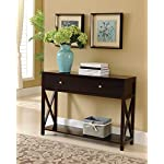 Kings Brand Cherry Finish Wood Entryway Console Sofa Occasional Table With Drawers