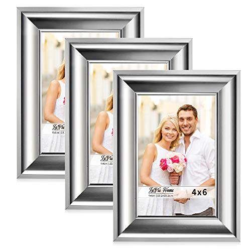 LaVie Home 4x6 Picture Frames(3 Pack,Silver) Photo Frame Set with High Definition Glass for Wall Mount & Table Top Display (6 Photo Frame Silver)