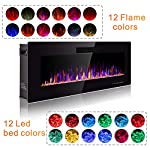 SUNLEI Electric Fireplace, in Wall Recessed and Wall Mounted Modern Fireplace Heater, LED Adjustable Flame Colors and Speed with Remote Control,Timer, Touch Screen, 750-1500W from SUNLEI