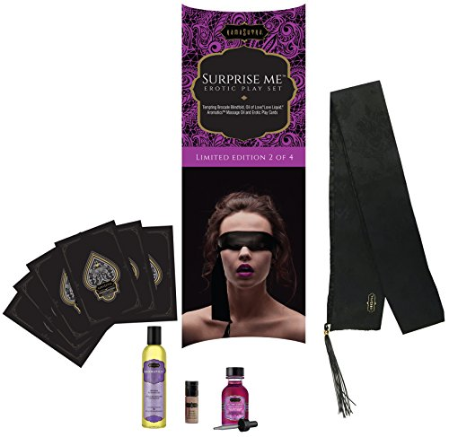 "5 Piece Erotic Playset - ""Surprise Me"" Set - Seductive Blindfold with Leather Tassel, Massage Oil, Oil of Love, Love Liquid, 12 Play Cards - Limited Edition Kit by Kama Sutra"