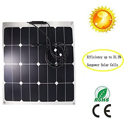 GreeSonic SunPower Semi Flexible Solar Panel 50W (ETFE+Aluminum) Photovoltaic Solar Panel (Thermostable) with MC4 connectors