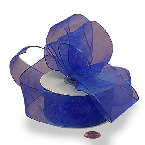 Royal Blue Sheer Organza Wired Ribbon 1 1/2