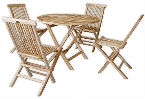 KMH®, Gartensitzgruppe mit praktischem Klapptisch (Ø 100cm) für 4 Personen (ECHT TEAK) (#102211)