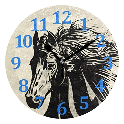 (Blueangle - Black Horse Head Wall Clocks,10 Inch - Silent Non Ticking Quality Quartz Battery Operated Round Easy to Read Home/Office/School)