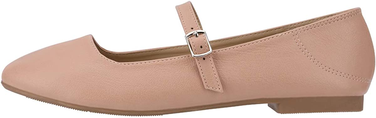 CINAK Flats Mary Jane Shoes Womens Casual Comfortable Walking Classic Buckle Ankle Strap Style Ballet Slip On