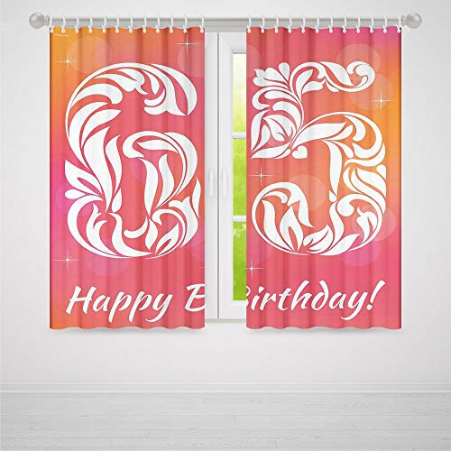 Door Curtain,65th Birthday Decorations,for Living Room,Greeting Card Inspired Design with Decorative Font Swirls2 Panel Set,28W X 39L Inches