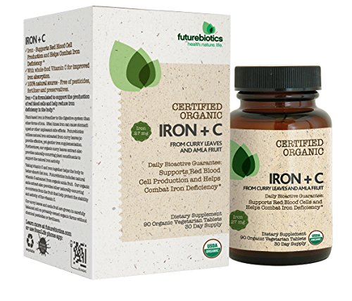 Futurebiotics Iron + Vitamin C, USDA Certified Organic, 90 Vegetarian Tablets