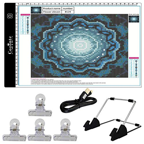 - Cozonte A4 LED Light Box, diamond painting Light Pad Apply to diy 5D Diamond painting, see symbols and numbers clearer, light pad with detachable stand and clips