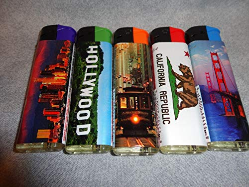 (Winlite Hollywood California Scenic Views Themed LIGHTERS Set of 5 REFILLABLE)