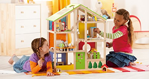 Hape All Seasons Kid's Wooden Doll House Furnished with Accessories by Hape (Image #1)