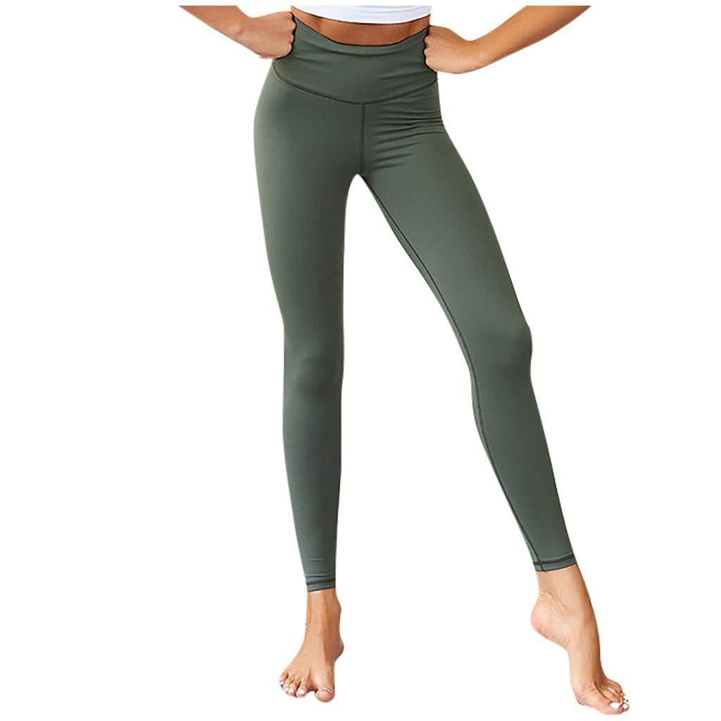 Gocheaper Fashion Womens Solid Sport Leggings Casual Elastic High Waist Fitness Yoga Pants(Green,XS) by Gocheaper Yoga Pants