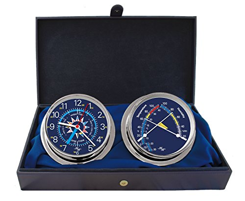 "Master-Mariner Blue Mariner Collection, Nautical Cabin Gift Set, 5.75"" Diameter Time & Tide Clock and Comfort Meter Instruments, Chrome Finish, Blue Signal Flag dial"