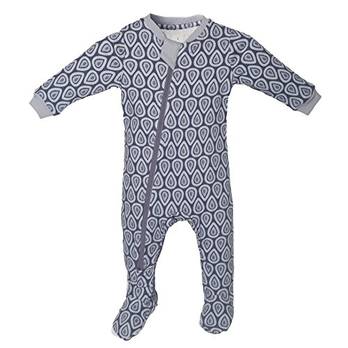 ZippyJamz Organic Baby Footed Sleeper Pajamas w/Inseam Zipper ~ Drip Drop Dream (9-12 Months) Mine Arm Warmers