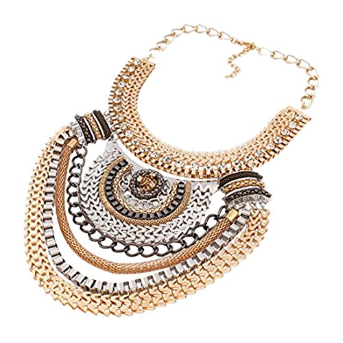QIYUN.Z (TM) Funky Ethnic Tribal Colorful Multiple Chain Bib Choker Statement Collar Necklace