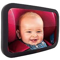 Espejo para bebé para automóvil: el asiento trasero más grande y más estable con acabado mate de primera calidad - Vista cristalina del infante en el asiento del automóvil orientado hacia atrás - Seguro, seguro ya prueba de golpes