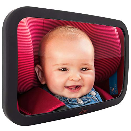 Baby Mirror for Car - Largest and Most Stable Backseat Mirror with Premium Matte Finish - Crystal Clear View of Infant in Rear Facing Car Seat - Safe