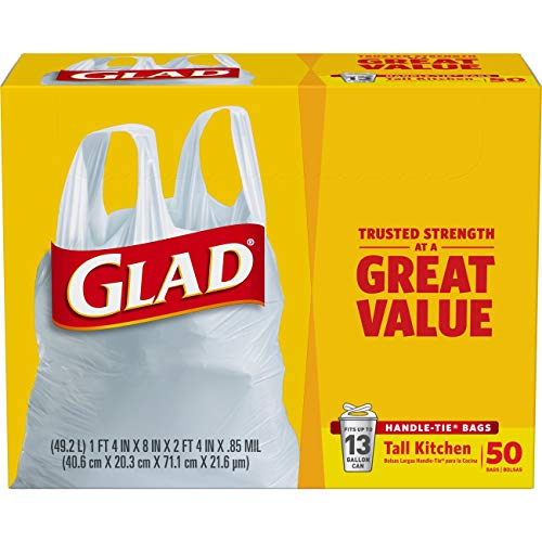 Glad Tall Kitchen Handle-Tie Trash Bags - 13 Gallon White Trash Bag - 50 Count Each (Pack of 4)