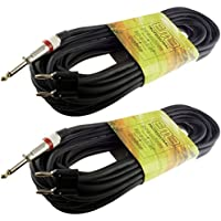 2 PACK PRO AUDIO 1/4 TO DUAL banana 50 FT foot PA DJ SPEAKER CABLE 16 GAUGE WIRE